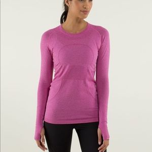 Lululemon Long Sleeve Run Swiftly Pink/Rasberry